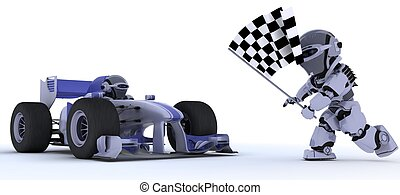 Robot in race car winning at chequered flag - 3D render of a...