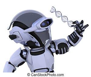 robot inspecting a DNA strand - 3D render of a robot...