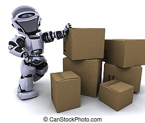 robot moving shipping boxes - 3D render of a robot moving...