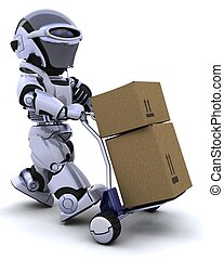 robot moving shipping boxes - 3D render of a robot moving ...