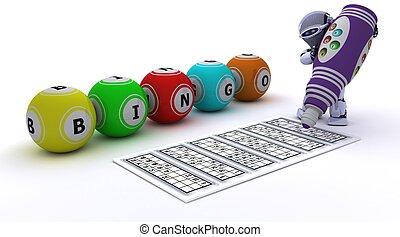 robot playing bingo