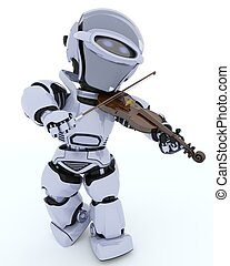 Robot playing the violin - 3D render of a Robot playing the...