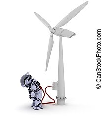 Robot recharging by wind turbine - 3D Render of a Robot...