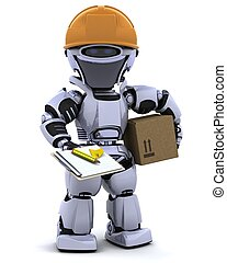 robot in hardhat with clipboard - 3D render of a robot robot...
