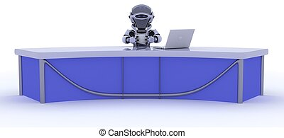 robot sat at a desk reporting the news - 3D render of a...