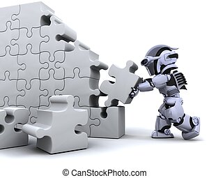 robot solving jigsaw puzzle - 3D render of a robot solving...