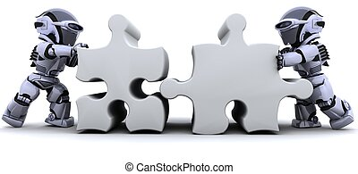 robot solving jigsaw puzzle - 3D render of a robot solving...