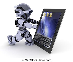 Robot with a digital tablet - 3D render of a Robot with a...