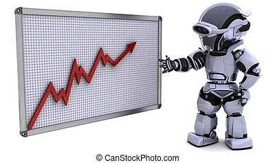 robot with a graph chart - 3D render of a robot with a graph...