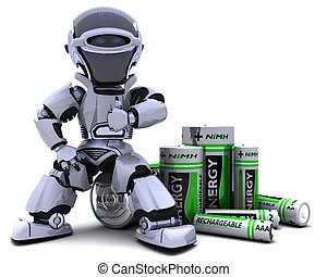 Robot with Batteries - 3D render of a Robot with Batteries