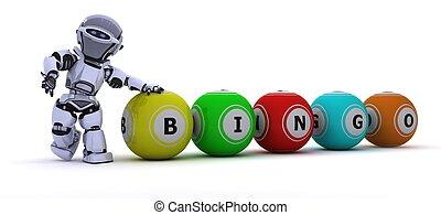 robot with bingo balls