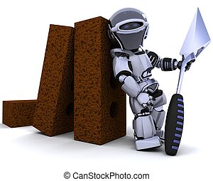 robot with bricks and trowel - 3D render of a robot with...