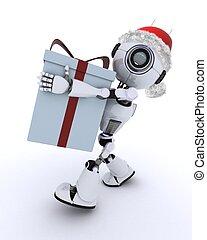 Robot with christmas gift