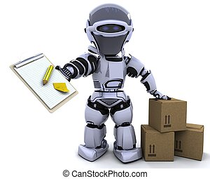 robot with clipboard and boxes - 3D render of a robot with ...