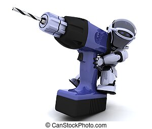 robot with drill - 3D render of a robot with drill