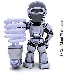 robot with energy saving lightbulb