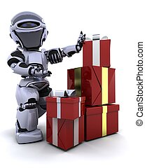 robot with gift boxes with bows