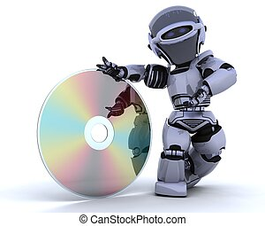 robot with optical media disc - 3D render of a robot with...