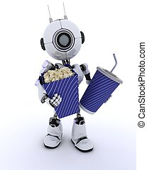 Robot with popcorn and soda