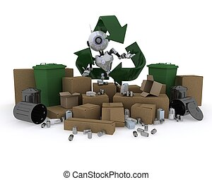 Robot with recycling waste