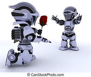 robot with romantic gift - 3D render of a robot with...