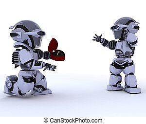 robot with romantic gift