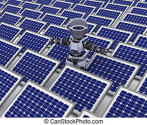 Robot with solar panel