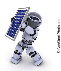 Robot with solar panel - 3D Render of a Robot with solar ...