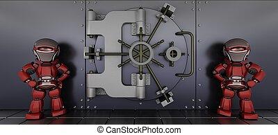 robots guarding a bank vault - 3D render of a robots ...