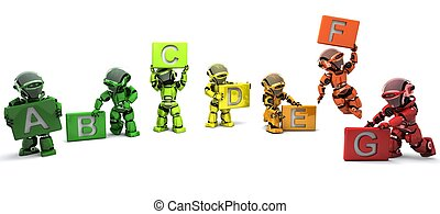Robots with energy ratings signs