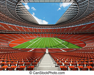 3D render of a round football stadium with orange seats