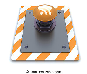 RSS push button - 3d render of a RSS push button