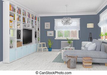 3d render of a Scandinavian apartment - living room