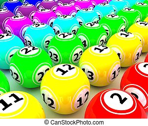 a set of colored bingo balls