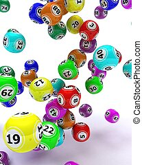 a set of colouored bingo balls