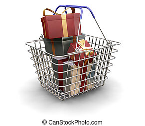 Christmas presents - 3D render of a shopping trolley full of...