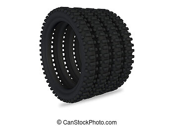 3D  render of a single tire isolated on white background