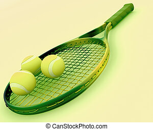 tennis racket and balls - 3d render of a tennis racket and...