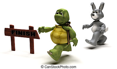 Tortoise and Hare race metaphor - 3D Render of a Tortoise...