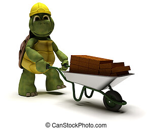 tortoise Builder with a wheel barrow carrying bricks - 3D...