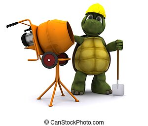 tortoise builder with cement mixer - 3D render of a tortoise...