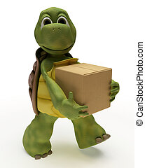 Tortoise Caricature carrying packing cartons - 3D render of...