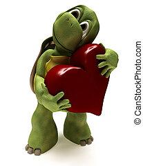 3D render of a Tortoise Caricature hugging a heart