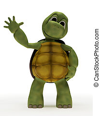 Tortoise Caricature Waving - 3D Render of a Tortoise...