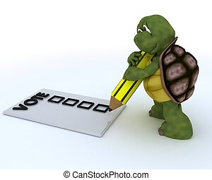 tortoise casting a vote in election - 3D render of a...