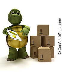 tortoise delivering a parcel - 3D render of a tortoise...