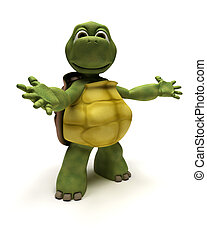 3D Render of a Tortoise in an introduction pose