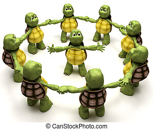 Tortoise leading a team - 3D Render of a Tortoise leading a ...