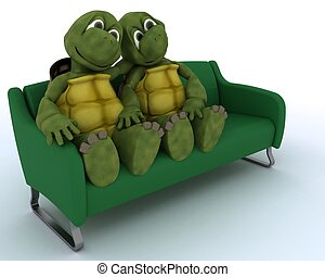 tortoise on a sofa - 3D render of a tortoise on a sofa