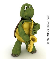 tortoise playing a saxophone - 3D render of a tortoise...